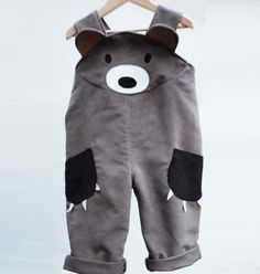 Brown Bear boys dungaree overall by wildthingsdresses on Etsy, $60.00