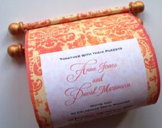 Medieval Wedding Invitations Scroll Aged Damask In Tangerine And Navy