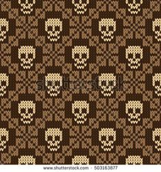Seamless pattern with skull and ethnic mexican elements. Day of the dead, a traditional holiday in Mexico. For postcard or celebration design. Traditional Latin American patterns and ornaments Knitting Basics, Knitting Charts, Knitting Stitches, Knitting Projects, Free Knitting, Cross Stitching, Cross Stitch Embroidery, Cross Stitch Patterns, Fair Isle Knitting Patterns