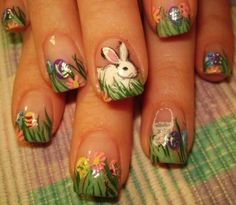 15 Best & Easy Easter Nail Art Designs & Ideas For Girls 2013 Easter Nail Designs, Easter Nail Art, Nail Art Designs, Nail Art Oriental, Cute Nails, Pretty Nails, Hair And Nails, My Nails, Bunny Nails