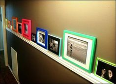 This is a great idea to add color to neutral decor and display great pictures.