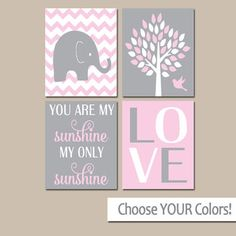 Pink Gray Nursery, Girl Elephant Nursery Wall Art, Baby Girl Nursery Decor, Girl Bedroom Pictures, CANVAS or Prints, Sunshine Quote Set of 4
