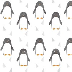 Ice Cold Penguins - White fabric by papercanoedesign on Spoonflower - custom fabric