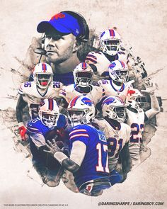 Buffalo Bills Logo, Buffalo Bills Football, Football Art, Josh Allen Buffalo Bills, Jordan Poyer, Sean Mcdermott, Nfl Team Colors, Stefon Diggs, Murals Street Art