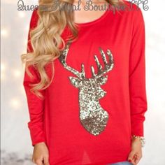 ✨ Gold Shimmer Reindeer Christmas Top ✨ This Gorgeous Christmas Top will definitely turn heads this Top comes in small, medium and large  Get yours today just in time for the holidays ☺️ Tops Tees - Long Sleeve