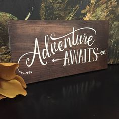 Adventure Awaits Wood Sign - Cottage Decor - Farmhouse Decor - Lettered Sign - Brown Stain with White Quote - Boy's Room Decor - Nursery by OldBarnRescueCompany on Etsy https://www.etsy.com/listing/524431456/adventure-awaits-wood-sign-cottage-decor