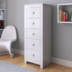 When it comes to rounding out your little one's bedroom, adding a touch of storage with a chest of drawers like this is a great way to not only organize them but also help them learn important lessons about cleaning up! Crafted from manufactured wood, this piece includes five drawers perfect for tucking away everything from t-shirts to socks. This slim piece adds a touch of height to your child's space and includes a tip over-restraint device to help keep your little one safe.