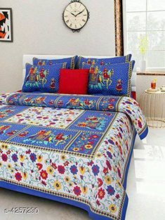 Bedsheets Eva Stylish Cotton Bedsheets  Fabric: Pure Cotton No. Of Pillow Covers: 2 Thread Count: 180 Multipack: Pack Of 1 Sizes:  Queen (Length Size: 100 in Width Size: 90 in Pillow Length Size: 27 in Pillow Width Size: 17 in)  Work : Printed Country of Origin: India Sizes Available: Queen, King *Proof of Safe Delivery! Click to know on Safety Standards of Delivery Partners- https://ltl.sh/y_nZrAV3  Catalog Rating: ★4 (14880)  Catalog Name: Eva Stylish Pure Cotton 100x90 Double Bedsheets Vol 1 CatalogID_609445 C53-SC1101 Code: 963-4257290-
