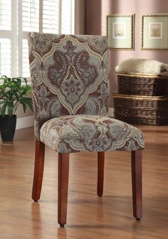 These comfortable, homey chairs feature unique upholstery designs in a number of exciting colors. The seat's classic, timeless design make this chair an ideal accent for bedrooms or foyers, while reta
