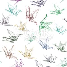 Japanese Origami paper cranes symbol of happiness, luck and longevity royalty-free stock vector art