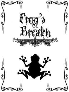 """Frog's Breath"" Bottle Label (Nightmare Before Christmas)"