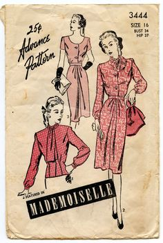 1940s Advance 3444 Vintage Sewing Pattern Misses by GreyDogVintage, $20.00