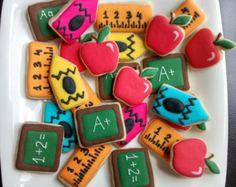 School,teacher appreciation ,back to school mini sugar cookies with royal icing,chalkboard, crayon, ruler,apple