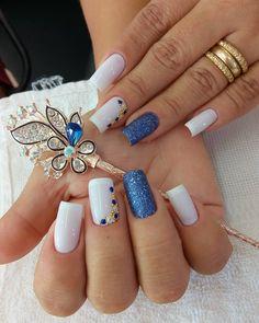 26 ideas nails design toe simple for 2019 Cute Acrylic Nails, Glitter Nails, Hair And Nails, My Nails, Finger Nail Art, Chic Nails, Elegant Nails, Nail Decorations, Blue Nails