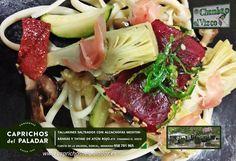 """Hoy desde Dúrcal , Granada de la mano de Rocío Machado, dueña y cocinera del Restaurante """"Chambao el Vizco"""" te compartimos este plato realizado con """"alcachofas mediterráneas"""" de Caprichos del Paladar:   """"tallarines salteados con alcachofas mediterráneas y tataki de atún rojo salvaje """"  Restaurante :  Chambao el Vizco  Dirección: cuesta de la valdesa, Dúrcal granada  Teléfono de reservas y contacto: 958 781 965"""