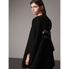Burberry Scallop-edged Wool Cashmere Hooded Poncho, Black