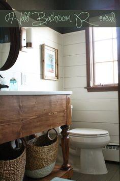 I'm Always Nesting: Half-Bathroom Reveal Lilac Bathroom, Charcoal Bathroom, Brown Bathroom, Modern Bathroom Decor, Wood Bathroom, Bathroom Sets, Master Bathroom, Benjamin Moore Bathroom, Kendall Charcoal