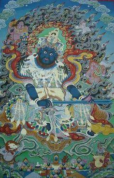 Virudhaka (Tibetan: pag pi kye bo), Directional God of the South and King of the Kumbhanda. Tibetan Art, Tibetan Buddhism, Buddhist Art, Chinese Drawings, Thangka Painting, India Art, Mandala Drawing, Funny Tattoos, Outdoor Art