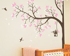 Tree Wall Decal, Tree Decal, Wall Decal, Wall Decals, Corner tree decal, Cute decal with birds,  Birds decal.    Please click on the picture to see it in fine detail !    ♡ ♡ ♡ DESCRIPTION ♡ ♡ ♡    Corner and Smaller Tree Decal Set. Complete package to final touch in decorating. With this decal you instantly turn regular room into modern designed room. Our high quality matte finish decal looks like hand painted piece of art on your wall. (Framed pictures are not included)    Please look in…