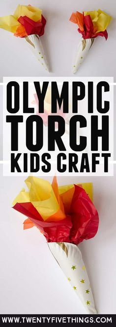This Olympic torch craft is a fun way to celebrate the Olympics with kids. Slide… This Olympic torch craft is a fun way to celebrate the Olympics with kids. Slide a batter-powered tea light inside to make the torch glow. Olympic Games For Kids, Olympic Idea, Fun Activities For Kids, Easy Crafts For Kids, Diy For Kids, Kids Fun, Camping Activities, Olympic Flame, Senior Activities