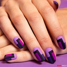 Purple color block nails. Might just try this! Purple is my fave colour :-)