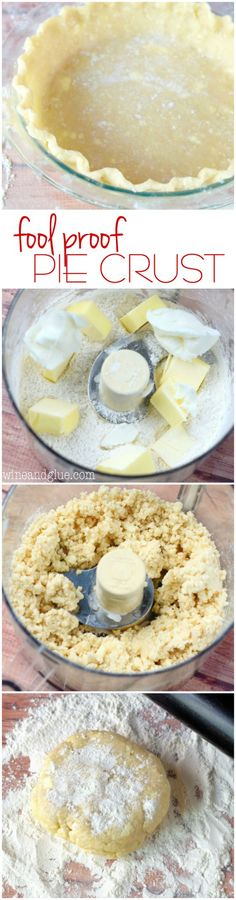 Fool Proof Pie Crust is seriously so easy, moist and delicious! Step by step photo tutorial!This Fool Proof Pie Crust is seriously so easy, moist and delicious! Step by step photo tutorial! 13 Desserts, Delicious Desserts, Dessert Recipes, Yummy Food, Plated Desserts, Dessert Ideas, Pie Crust Recipes, Pie Crusts, Pie Dough Recipe