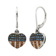 Sterling Silver 1/4-ct. T.W. Red, White & Blue Diamond American Flag Heart Drop Earrings. Beautiful and Patriotic.
