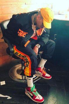 Chris Brown wearing V Lone Friends Jacket, Nike Off-White x Air Jordan 1