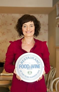 Drigin Gaffey of #Aniar Restaurant in Galway with the Food and Wine Award for Best Restaurant 2012