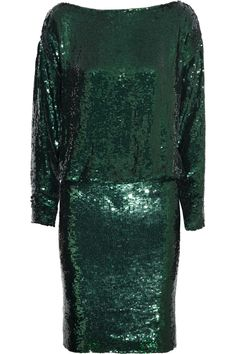 Givenchy|Paillettenbesetztes Kleid aus Seiden-Crêpe in Smaragdgrün|NET-A-PORTER.COM