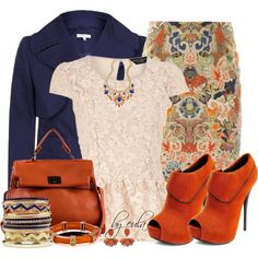 Floral Pencil Skirt Outfits | ... skirts and Charlotte Russe ankle booties. Browse and shop related