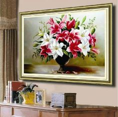 Cross-Stitch-Printed-Embroidery-Kits-Lily-vase-Design-DIY-Home-Decor