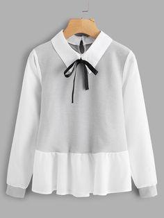 a8a5174bf5b1a Shein Ruffle Contrast Bow Tie Neck Blouse School Wear