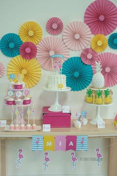 Fantastic flamingos and pineapples birthday party! See more party ideas at CatchMyParty.com!