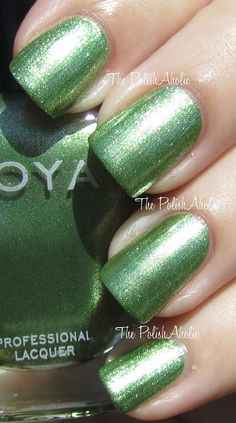 The PolishAholic: Zoya - Meg is a yellow toned green with a golden foil like shimmer. I much prefer this green over Tracie from the Beach half of Zoya's Summer 2012 polishes. It's more wearable for my skintone. This one was also a very glowly looking polish out in the sun. It does remind me a bit of Apple which was in Zoya's 2011 Summer collection but it's not a dupe!