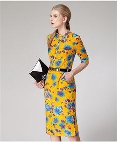 Yellow Floral Print Dress Daytime Dresses, Winter Time, Floral Prints, Dresses For Work, Yellow, Free, Color, Beautiful, Collection