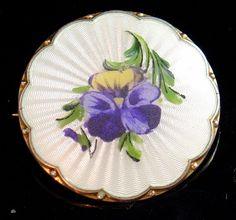 vintage SILVER gilt Norway Ivor T Holth enamel pansy flower brooch 50s -2630