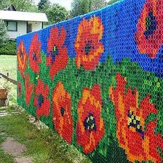 Impressive bottle cap wall mural poppies.