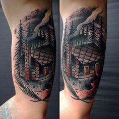 Scenery Tattoo design often symbolize a single spiritual belief among people who have the same morality. Cabin Tattoo, Scenery Tattoo, Landscape Tattoo, Tattoo Flash Art, English Tattoo, Great Tattoos, Art Of Living, Color Tattoo, Ink Art