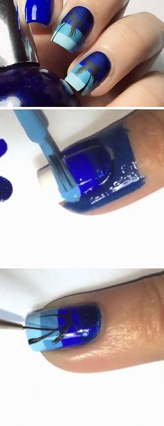 Blue Ombre | 18 Easy Summer Nail Art for Short Nails that scream summer!