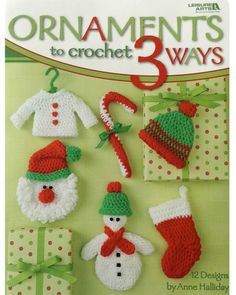 Ornaments To Crochet 3 Ways - Oh, what fun it is to crochet a sleighful of festive Christmas ornaments! It's especially delightful to create these happy designs in three different sizes-just choose from worsted weight yarn, sport weight yarn, or cotton thread.Bells, pom-poms, beads, and other small items are added for quick color and enchanting detail. And because these designs are simple, you can make plenty of decorations before the holidays arrive! Available from Maggie's Crochet