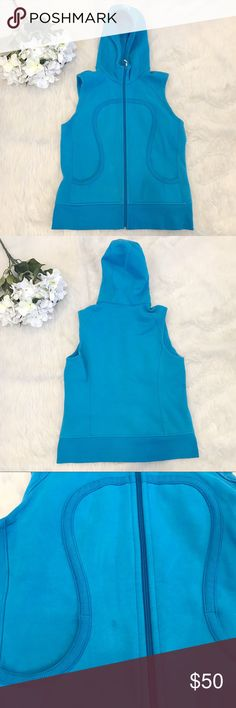 Lululemon Blue Scuba Vest Super cute scuba vest perfect for summer! In good condition but there is a spot on the front, may come out. No trades. Offers welcomed!! No size dot but pretty sure this would fit a 6 or 8 best. lululemon athletica Jackets & Coats Vests