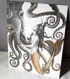 Mermaid and Octopus Gold Foil Wall Art Decor Posters Prints by FOLE * Continue to the product at the image link. (This is an affiliate link) Mermaid Tattoo Designs, Mermaid Drawings, Mermaid Tattoos, Art Drawings, Octopus Drawing, Octopus Painting, Octopus Artwork, Octopus Decor, Octopus Mermaid