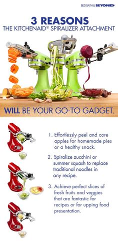 3 reasons the KitchenAid sprializer attachment will be your go-to gadget: 1. Effortlessly peel and core apples for homemade pies or a healthy snack. 2. Sprialize zucchini or summer squash to replace traditional noodles in any recipe. 3. Achieve perfect slices of fresh fruits and veggies that are fantastic for recipes or for upping food presentation.
