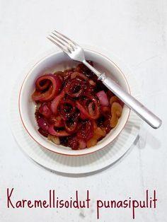 Karamellisoidut punasipulit — Peggyn pieni punainen keittio