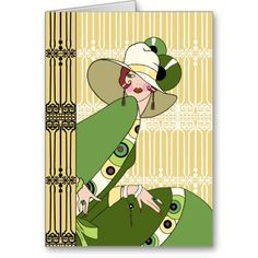 Shelby, 1920s Art Deco Lady in Yellow and Olive Card