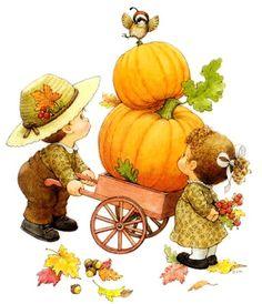 Thanksgiving Cartoon, Thanksgiving Wallpaper, Autumn Illustration, Cute Illustration, Fall Pictures, Christmas Pictures, Fall Clip Art, Sarah Kay, Pumpkin Art