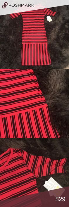 Lularoe Julia Brand new with tags. Red and black striped. Xxs LuLaRoe Dresses Midi