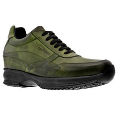 Elevator Sneakers - Upper in olive green burnished, lining in soft goatskin, 2 pairs of cotton shoe laces. Hand Made in Italy. elevator shoes, height increasing shoes