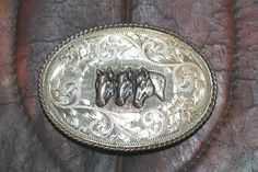 Tres Caballos Sterling Silver Buckle Horses Western Mexico
